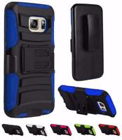 For Samsung Galaxy S7 G930 Hybrid Armor Holster Clip Stand Cover Case + Tempered