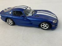 Burago 1:24 Dodge Viper 1996 Blue White Stripes GTS Coupe Car Fast Ship