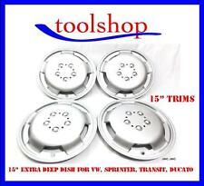 """Fiat Ducato 15 """"rueda Adornos Extra Deep Dish Tapacubos Silver Set De 4"""