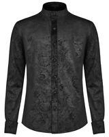 Punk Rave Mens Gothic Shirt Top Black Velvet Paisley Victorian Steampunk Vampire