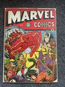 Rare golden age MARVEL MYSTERY COMICS #45 nazi kkk red skull ww2 cover Bondage