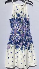 Womens Adrianna Papell Summer Dress Floral Size 14 Pleated Zipper Hook Liner