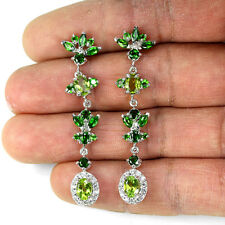 Sterling Silver 925 Genuine Natural Peridot & Chrome Diopside Dangle Earrings