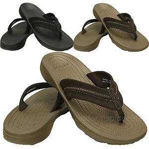 Crocs Flip-Flop Mens Yukon Mesa Flips Sandals 202594 Black Brown Flip Flop