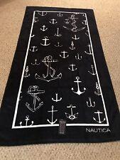 "Beautiful 100% Cotton Pool Bath Spa Nautica Beach Towel 35x66"" New Anchors"