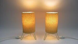 Paar Tripod Leuchte Bast Nachttischlampe Tisch Lampe '50er J