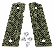 1911 G10 Magwell grips BlackGreen + Silver stainless Torx grip screws set