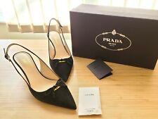 ♡NWB♡ Prada Womens low-Heel Halter Slingback Pump Pointed Black 38  us 8