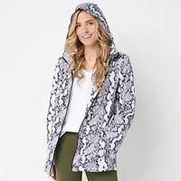 Susan Graver Water Resistant Packable Anorak Jacket with Hood - Snake - Medium