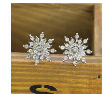 Silver Snowflake Crystal Rhinestone Ear stud Earrings Wedding  Jewelry Lovely