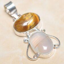 "Handmade Golden Tiger's Eye Gemstone 925 Sterling Silver Pendant 2"" #P04627"