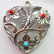 QSAM3460 Beautiful Tibet silver heart pendant bead