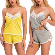 Sexy Lingerie Lace Cotton Sleepwear Womens Cami Shorts Nightwear Pajama Set US