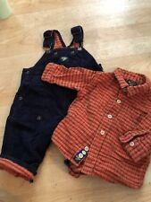 Oshkosh Set O-6 Months Blue Corduroy Overalls Flannel Shirt Orange Plaid Boys If