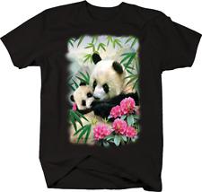Two Panda Bears Loving Each other Pink Flowers Safari Jungle T-shirt
