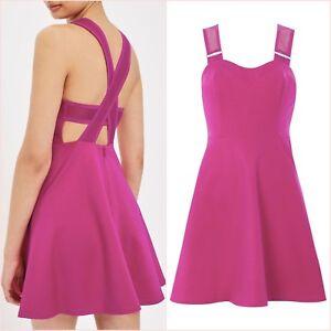Topshop PETITE Pink Magenta Cross Open Back Skater Dress Size 4 US 0 Blogger ❤