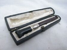 Early Bakelite/Catalin Cigarette Holder Tip w/Ornate Sterling Band w/Case Smoke