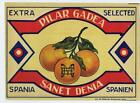 Pilar Gadea  fruit orange  crate label Sanet Denia  Spain