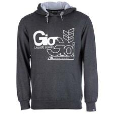 MENS NEW DECKER HOODY TOP GIO GOI IN CHARCOAL DESIGNER PULLOVER GREY SMALL