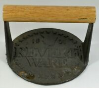 RARE Vtg REVERE WARE Cast Iron with Wood Handle Hamburger Press Grilling Cooking