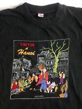 Tintin a Hanoi T-shirt Embroidered rare Vietnam Collectible XL