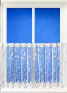 "Hawaii Butterfly White Café Style Net Curtain - 40cm (16"") & 61cm (24"") drops"