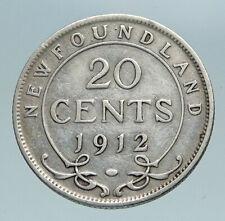 1912 CANADA UK King George V Newfoundland Antique SILVER 20 CENTS Coin i84208