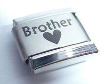 BROTHER & BLACK HEART Italian Charm - I Love my BRO 9mm fits Classic Bracelets