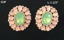 "1.5"" Long Oval Pink and Green Clip-On Earrings"