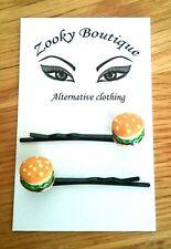 Cheeseburger hair slides, grips, black bobby pins. Kawaii gift idea