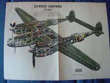 VINTAGE WW 11, FLYING CUTAWAY, LOCKHEED LIGHTING P-38J BY REYNOLD BROWN