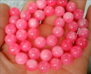 Natural 8MM Pink Snowflake Jade Gemstone Round Loose Beads 15''