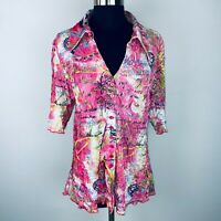 Sno Skins Pink Collared Button Down Top XL