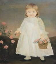 JEANNE DAVIES-PA/NJ Folk Artist-Original Signed Oil-Young Girl & Roses