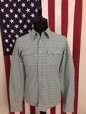 Hollister Blue Plaid Check Pearl Snap Western Shirt men's MEDIUM Bird Logo 7287