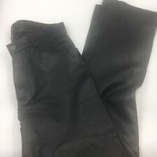 GAP Black Leather Pants Womens Size 4 Black Motorcyle Bike Polyester Lined