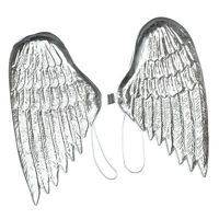Large Silver Angel Wings Plastic Fancy Dress Accessory