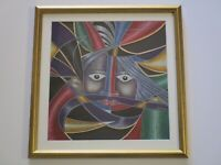 CONTEMPORARY PAINTING ABSTRACT EXPRESSIONISM COLORFUL PORTRAIT CUBIST MODERNIST