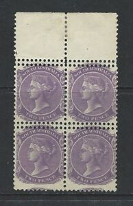 SOUTH AUSTRALIA - #116 -2d QUEEN VICTORIA BLOCK OF 4 WITH DOUBLE PERF ON STAMPS
