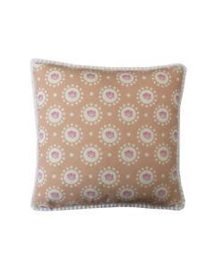 "16"" Vintage style Peach Rose White pompom trim scatter cushion covers sham"