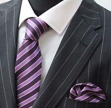 Tie Neck tie with Handkerchief Purple Mauve with White Stripe