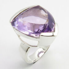 Natural AMETHYST ! February Birthstone 0.925 Solid Silver CHUNKY Ring Size 9.25