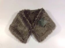 ZARA Faux Fur Stole Scarf Medium M Brown Dress Mini Shrug Cape Neck Collar Wrap