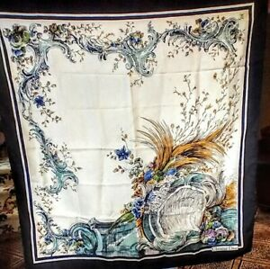 """Vintage CHRISTIAN DIOR Silk Scarf 33"""" by 34"""" with hand rolled hem"""
