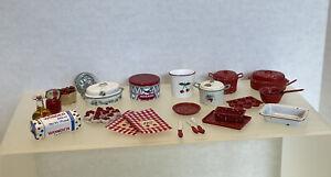 Vintage Cherry Red Kitchen Items Some Artisan CARRADUS Dollhouse Miniature 1:12
