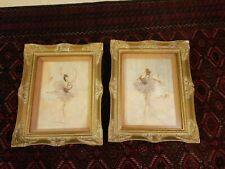 Pair of Pal Fried Framed Ballerina Paintings with mixed media