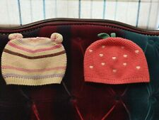 2 Stunning Baby Girl Pink Hearts & Cream Multi Striped Hats Size 3-6