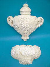Vintage Ceramic White Urn Shape Wall Pocket Decorative Victorian Theme Hangers