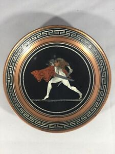 Vintage Greek Copper Bowl with Greek Swordsman