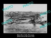 OLD LARGE HISTORIC PHOTO OF BLACK RIVER FALLS WISCONSIN, THE TOWN & FLOOD 1911 1